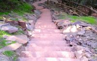 The view down a portion of the new 200-step stone staircase that leads up the side of Kaaterskill Falls